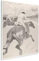 Le Jockey - Schilderij van Henri de Toulouse-Lautrec Plexiglas 120x160 cm - Foto print op Glas (Plexiglas wanddecoratie) XXL / Groot formaat!