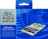 Winsor & Newton Cotman Painting Box Aquarelset 12 hele napjes + penseel