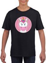 Kinder t-shirt zwart met vrolijke eenhoorn print - eenhoorns shirt M (134-140)