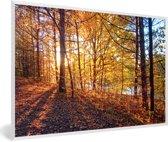 Foto in lijst - De herfstzon schijnt op de bladeren van een bos fotolijst wit 60x40 cm - Poster in lijst (Wanddecoratie woonkamer / slaapkamer)