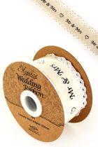 Eleganza huwelijk-lint cotton lace edge op rol 38mm x 4mtr MR & MRS