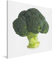 Broccoli tegen een witte achtergrond Canvas 90x90 cm - Foto print op Canvas schilderij (Wanddecoratie woonkamer / slaapkamer)