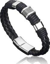Montebello Armband Arban Black - Heren - Leer - Metaal - 21 cm
