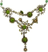 Ketting antiek-goud-kleur met bloem hanger en groene stenen