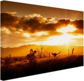 Kangoeroe bij zonsondergang Canvas 80x60 cm - Foto print op Canvas schilderij (Wanddecoratie)