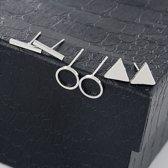 daytodaylooks - Studs 3 stuks - Bar, circle & triangle studs - Oorknoppen - Earcandy - Nikkelvrij - Zilverkleurig