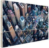 Times Square van boven Hout 80x60 cm - Foto print op Hout (Wanddecoratie)