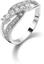 Twice As Nice ring in zilver met ronde en vierkante zirkonia Wit 54