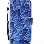 Mobigear Wallet Case Blauwe Bladeren Pattern Samsung Galaxy J6 2018