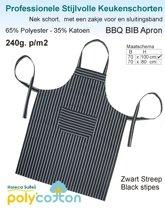 Homéé® Keukenschorten BBQ Apron zwart gestreept 240g. p/m2 - Set van 2 stuks - 70x100cm