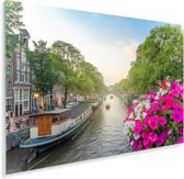 Kleurrijke foto van de Prinsengracht van Amsterdam Plexiglas 180x120 cm - Foto print op Glas (Plexiglas wanddecoratie) XXL / Groot formaat!