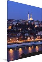 Uitzicht op Istanbul in de nacht Canvas 90x140 cm - Foto print op Canvas schilderij (Wanddecoratie woonkamer / slaapkamer)
