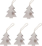Kersthanger - Kerstboom - 5 stuks - Hout - Whitewash