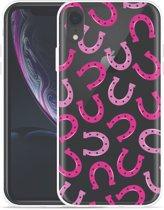 Apple iPhone Xr Hoesje Pink Horseshoes