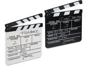 relaxdays 2 x filmklapper zwart en wit - voor filmfans - movie clapper board - clapboard
