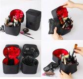 Make up tas cilinder zwart voering zwart - make up organizer - beauty case - make-up tasje