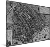 Een historische zwart wit stadskaart van Amsterdam Canvas - Plattegrond 30x20 cm - klein - Foto print op Canvas schilderij (Wanddecoratie woonkamer / slaapkamer)