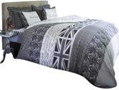 Rivièra Maison Britain Basics Dekbedovertrek - Eenpersoons - 140x200/220 cm - Grijs