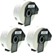 3x Brother DK-11201 zwart op wit voorgestanst standaard adreslabel - Papier–29 mm x 90 mm - 400 labels per rol