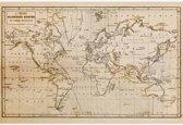 Historische wereldkaart op poster - Vintage - wand decoratie 90x60 cm - Wereldkaarten.nl