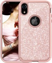 Extra Stevige Luxe Shockproof Glitter Back Cover voor Apple iPhone XR - Armor Case met 360º Bescherming - Roze met Glitters Hoesje - 3 in 1 Hybrid