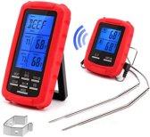Mancor vleesthermometer - Draadloos - Digitaal - Met alarm - Met timer - Dubbele aansluiting - Geschikt voor (rook)oven, barbecue en braadpan - Alle soorten vlees - Meet tot 380°C/716 °F