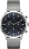 Renard Grande Chrono Blue/Silver Milanese Silver RC402SS41MSS - Horloge - RVS - Zilverkleurig