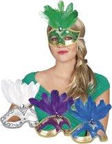 16 stuks: Masker Venetie - piuma in 4 kleuren - assorti