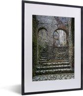 Foto in lijst - Mooie trap in het Citadelle Laferrière fort fotolijst zwart met witte passe-partout klein 30x40 cm - Poster in lijst (Wanddecoratie woonkamer / slaapkamer)