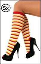 5x Doruskousen rood/wit/geel