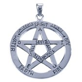 Zilveren Pentagram ketting hanger - 5 elementen