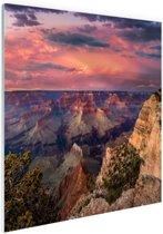 Zonsondergang Grand Canyon Glas 90x60 cm - Foto print op Glas (Plexiglas wanddecoratie)