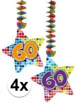 4x Hangdecoratie sterren 60 jaar - verjaardag versiering