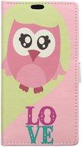 Alcatel Pixi 4 (4) portemonnee hoesje met print Love Owl