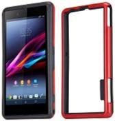 Bumper hoesje Sony Xperia Z1 Compact zwart / rood
