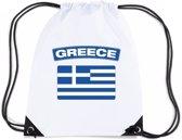Griekenland nylon rijgkoord rugzak/ sporttas wit met Griekse vlag