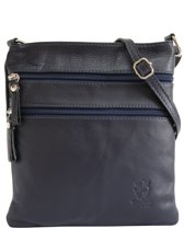 AmbraModa kleine leren tas, schoudertas, crossbody tas NL613 Donkerblauw