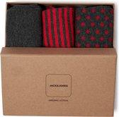 Jack & Jones - Heren 3-Pack Giftbox Sokken Grijs Rood - One size