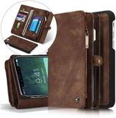 CASEME Apple iPhone Xs Max Luxe Lederen Portemonnee Hoesje - met backcover (Bruin)