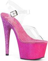 EU 38 = US 8   ADORE-708OMBRE   7 Heel, 2 3/4 Ombre Glittered PF Ankle Strap Sandal