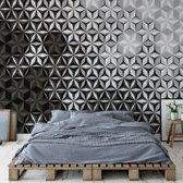 Fotobehang Modern 3D Black And White Pattern | V8 - 368cm x 254cm | 130gr/m2 Vlies