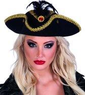 Goud-zwart piraten hoed voor vrouwen - Verkleedhoofddeksel