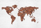 Fotobehang Brick Wall World Map | L - 152.5cm x 104cm | 130g/m2 Vlies