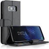 Samsung Galaxy S8 - Lederen Portemonnee Hoesje Zwart - Leren Wallet Case TPU - Book Case - Flip Cover - Klap - 360 beschermend Telefoonhoesje