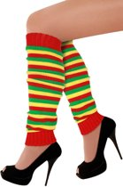 Beenwarmers rood/geel/groen smalle streep