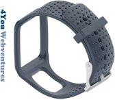 Donker Grijs bandje voor Tomtom Runner 1 & Multi-Sport 1 - horlogeband - polsband - strap - horlogebandje - dark grey - 4You Webventures