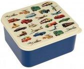 Rex London - Transport - Vintage Broodtrommel - Blauw / Wit - Vierkant - Ouderwets degelijk!