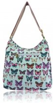 MISS LULU Canvas Schoudertas BUTTERFLY . - L1104B LBE)