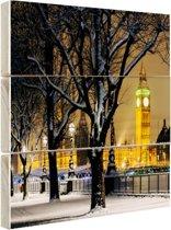 De Big Ben in de winter Hout 120x80 cm - Foto print op Hout (Wanddecoratie)