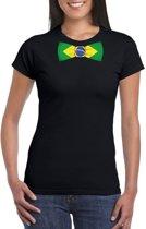 Zwart t-shirt met Brazilie vlag strikje dames L